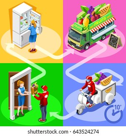 Fruit cart take away food truck and white car or van for fast home delivery vector infographic. Isometric people delivery man processing online order at the client customer door