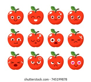 Fruit character design in various emotions.