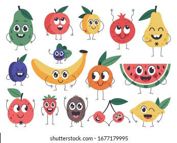 Fruit character. Doodle vegetarian food mascots, happy fruits comic emotions, cute apple, banana and funny avocado isolated vector icons set. Fruit vitamin mascot, vegetarian pear plum illustration