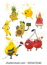 Fruit characters summer party set. Vector cartoon Banana in party hat, mustache pear playing guitar dancing, cherry making selfi, watermelon, orange in fancy sunglasses, avocado drink beer, pineapple