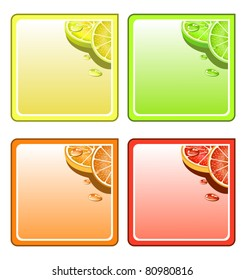 Fruit collage vector coaster set