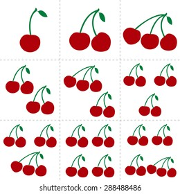 Fruit collection for children design. Flash cards for counting learning from 1 to 9. Red and green cherries. Vector Illustration EPS10.