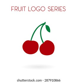 Fruit collection for children design. Flat style cherry on a branch with a leaf logo design. Vector Illustration EPS10.
