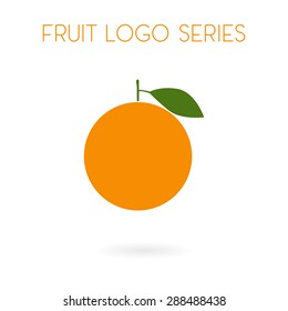 Fruit collection for children design. Flat style orange logo design. Vector Illustration EPS10.