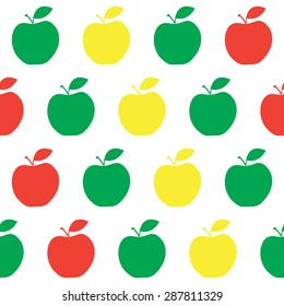 Fruit collection for children design. Seamless pattern. Green, yellow, red apples. Vector Illustration EPS10.