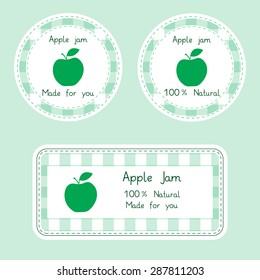 Fruit collection for design. Labels for homemade 100% natural apple jam in green color. Vector Illustration EPS10.