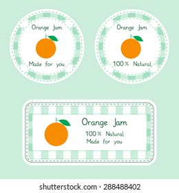 Fruit collection for design. Labels for homemade 100% natural orange jam in green and yellow color. Vector Illustration EPS10.
