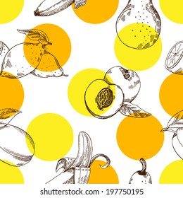 Fruit color pattern ,vector hand drawing