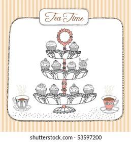 fruit cupcakes and tea