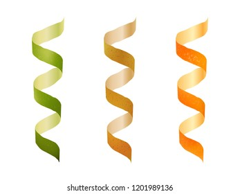 fruit cut in a spiral. Isolated image. Realistic style. Vector illustration.