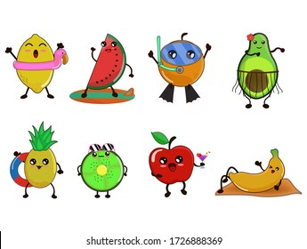 fruit cute cartoon characters Summer.