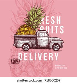 Fruit delivery design template. Botanical fruit. Engraved pineapple. Vector illustration