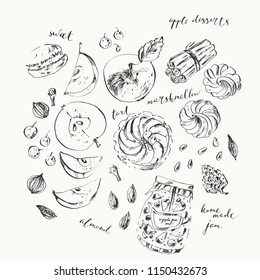 Fruit and dessert ink illustration. Apple, spice, tart, marshmellow, jam jar, nuts, macaron, clove, cinnamon, nutmeg, cardamon. For food background andcoloring book page.