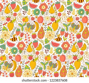 Fruit doodles seamless vector pattern. Hand drawn summer backdrop with  fruit.