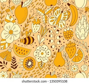 Fruit doodles seamless vector pattern. Hand drawn summer backdrop with fruit. - Vector illustration