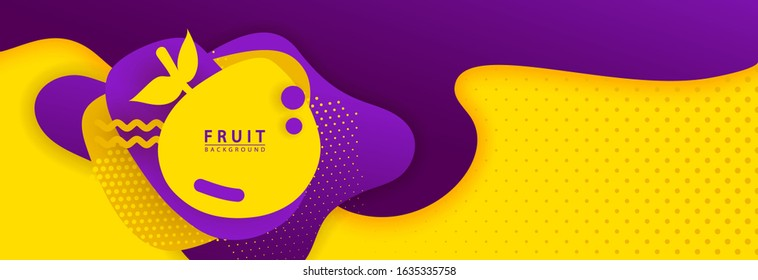 Fruit Dynamic Style Background Label  Banner yellow and purple Design Elements Fruit Concept with Fluid Gradient. Creative illustration for label,for fabric, drawing labels, ad, greeting, card, promo.