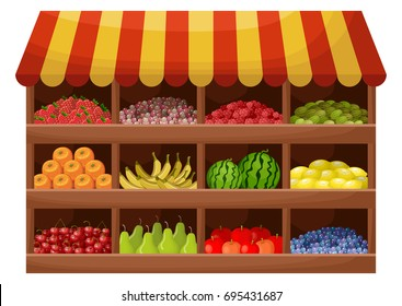 Fruit farmer shop. Counter with products. Vector
