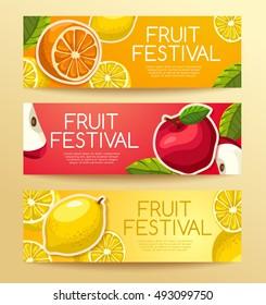 Fruit Festival : Fruit Elements on Banner Template: Vector Illustration