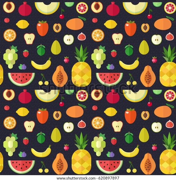 Fruta plana gran vector patrón transparente. Diseño de papel envuelto.