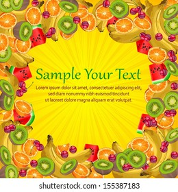 Fruit frame yellow, orange, banana, cherry, kiwi and watermelon, vector illustration