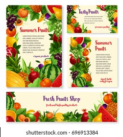 Fruit and fresh berry farm market banners. Apple, lemon and banana, grape, peach, pear and watermelon, pineapple, plum and apricot, melon, pomegranate for grocery shop label, food packaging design