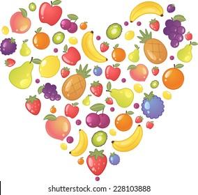 Fruit Fruits Heart Shape, with heart made of apple, peach, pear, lemon, grape, strawberry, bananas, pineapple. Vector Illustration cartoon.