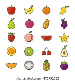 Fruit Healthy Food Set Of Nature Color Icon Style Colorful Flat