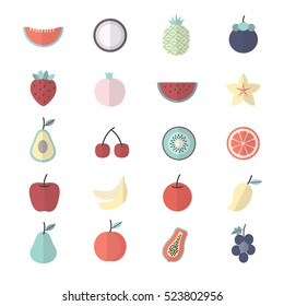 Fruit, Healthy Food Set Of Nature Icon Style Colorful Flat