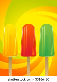 fruit ice lolies on a swirling citrus background