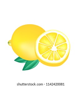 Fruit Icon Lemon White Background Vector Image