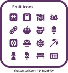 fruit icon set. 16 filled fruit icons.  Simple modern icons about  - Apple, Food, Bitterballen, Peanut, Tomato, Lemonade, Ice cream, Salad, Dragon fruit, Pick, Mustard, Picnic