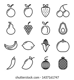 Fruit icon set with outline style isolated on white background