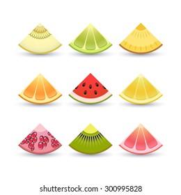 Fruit icon set. Slices of: lemon, kiwi, orange, pomegranate, pineapple, grapefruit, lime, watermelon, melon, pomegranate. Vector, EPS 10