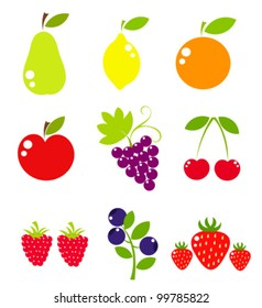 Fruit icons collection - vector illustration