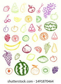 Fruit icons collection.Children drawling style color fruits set. Hand drawn wax crayons art on white background. Isolated chalk style icons. Pear,apple, grape, apricot, cherry, lemon, watermelon.