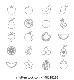 Fruit Icons Line Set Of Vector Illustration