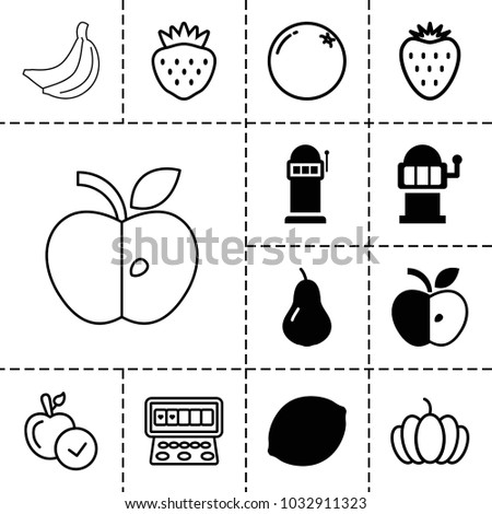 fruit icons set 13 editable filled stock vector royalty free