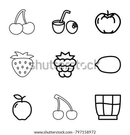 fruit icons set 9 editable outline stock vector royalty free