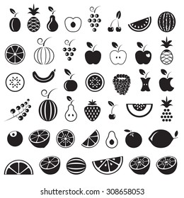 Fruit icons set, black isolated on white background, vector illustration.