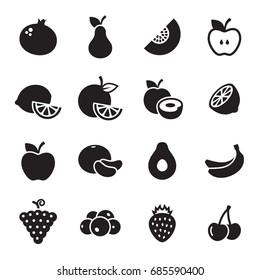 Fruit icons set. Black on a white background