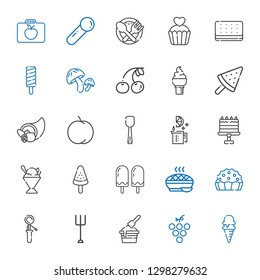 fruit icons set. Collection of fruit with ice cream, grape, garden, scoop, pie, popsicle, sorbet, cake, lime, peach, cornucopia, cherry, mushroom. Editable and scalable fruit icons.
