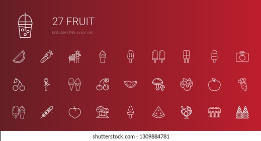 fruit icons set. Collection of fruit with ice cream, watermelon, popsicle, mushroom, plum, cereal, blueberries, mushrooms, cherry, scoop, cake. Editable and scalable fruit icons.