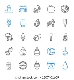 fruit icons set. Collection of fruit with pear, ice cream, strawberry, orange, smoothie, caramelized apple, coconut, cupcake, pineapple, scoop. Editable and scalable fruit icons.