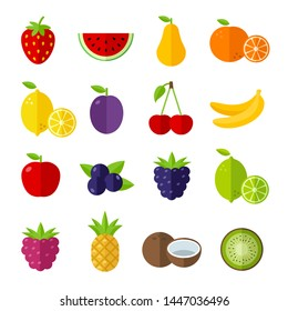 Fruit icons set, flat design style, can be used to illustrate summer topics or healthy lifestyle topics, diet, healthy eating