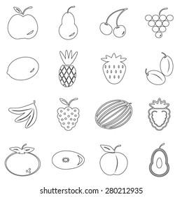 Fruit icons set illustration