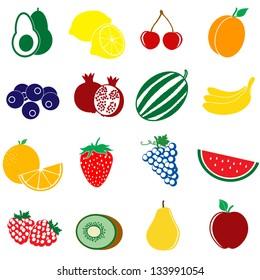 Fruit icons set on white background, vector illustration