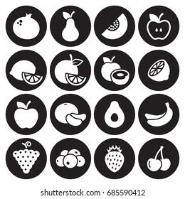 Fruit icons set. White on a black background