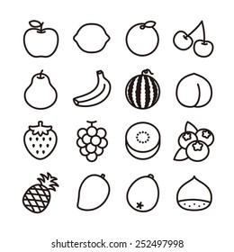 Fruit icons / vector illustration