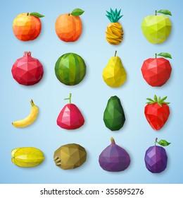 Fruit icons. Vector illustration