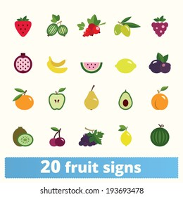 Fruit icons: vector set of flat food signs